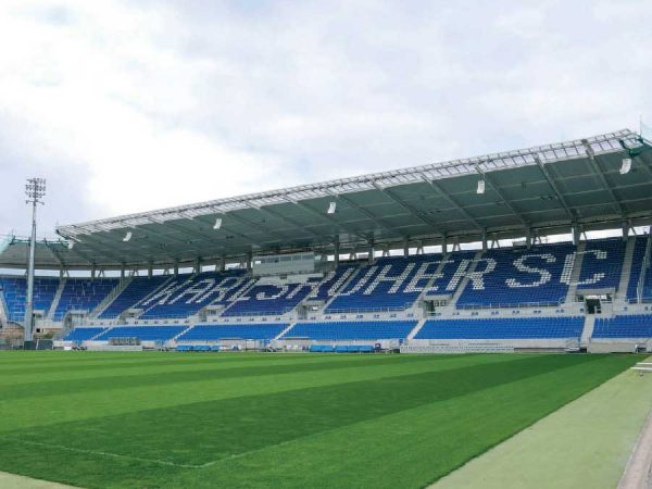 Mobile Heizzentrale macht es möglich: Trotz Komplettsanierung des Karlsruher Fußballstadions ist ein durchgängiger Spielbetrieb gegeben
