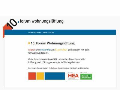 10. Forum Wohnungslüftung: digital und kostenfrei